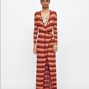 Zara Knit Dress Striped Copper Silver Red S NWT